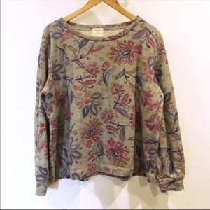 Anthropologie | T.la Terry Cloth Floral Sweatshirt